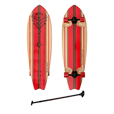 """Kahuna Creations SHAKA SURF 46"""" COMPLETE STAND UP PADDLE STREET SKATEBOARD AND PADDLE 46"""" BLACK/RED : Sports & Outdoors"""