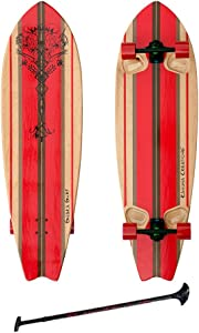 """Kahuna Creations SHAKA SURF 46"""" COMPLETE STAND UP PADDLE STREET SKATEBOARD AND PADDLE 46"""" BLACK/RED"""