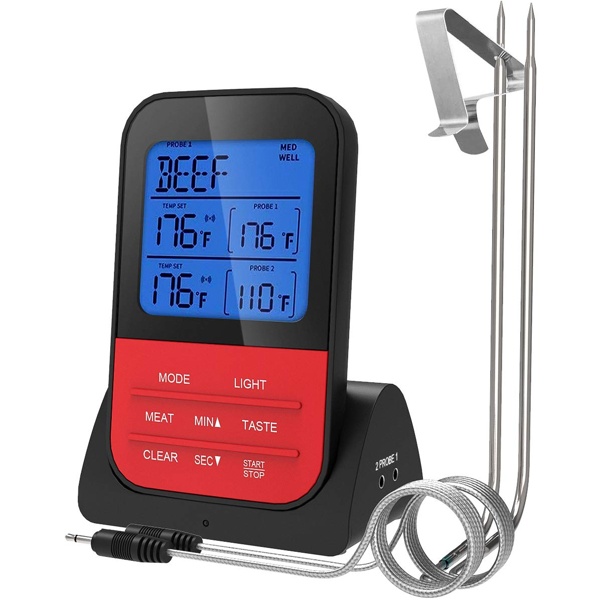 Luxear Wireless Remote Digital Meat Thermometer Dual Probe BBQ Thermometer Instant Read Cooking Thermometer Food Thermometer with Large LCD and Timer Mode for Smoker Kitchen Oven grill