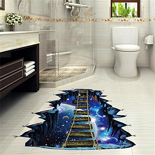 Simayixx Wall Stickers,3D Star Series Floor Wall Sticker Removable Self Adhesive Mural Decals Vinyl Art Room Decor (Blue)