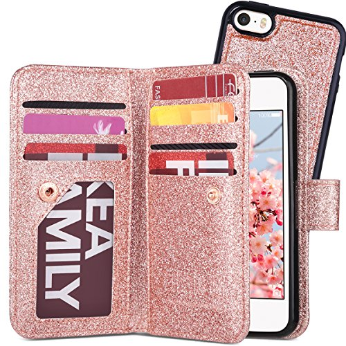 ULAK iPhone SE Case for Cute Girls, iPhone 5 5S SE Wallet case, Glitter Magnetic Detachable PU Leather Wallet Multi Credit Card Holders Flip Case Cover for Apple iPhone 5/5S/SE - Rose Gold Bling