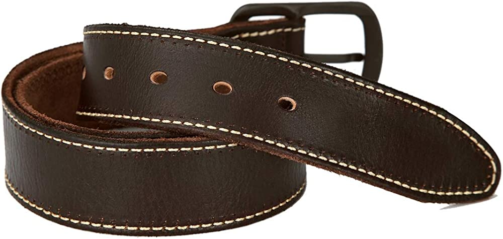 MKHDD Mens Belt Genuine Leather Dress Belt Classic Casual Wide Belt with Single Prong Buckle,A,115cm