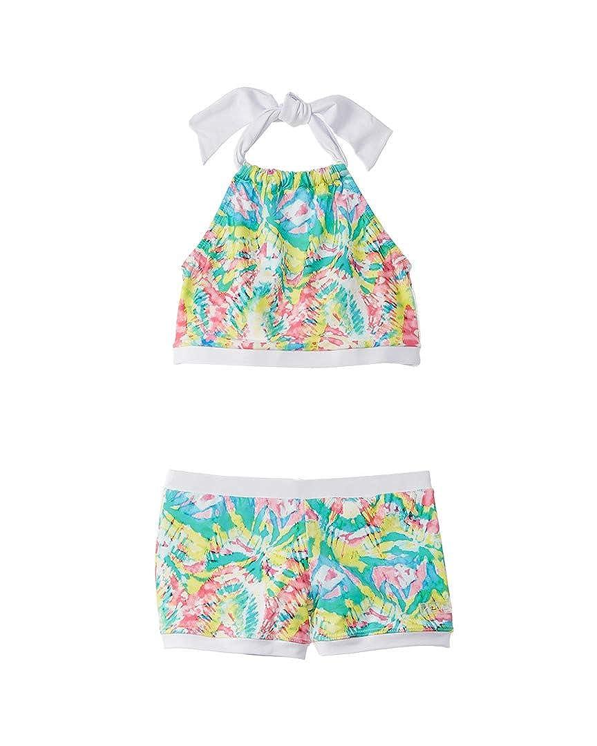 Azul Little Girls Multi Color Free Spirits Halter Top 2 Pc Shorts Swim Set 4-6