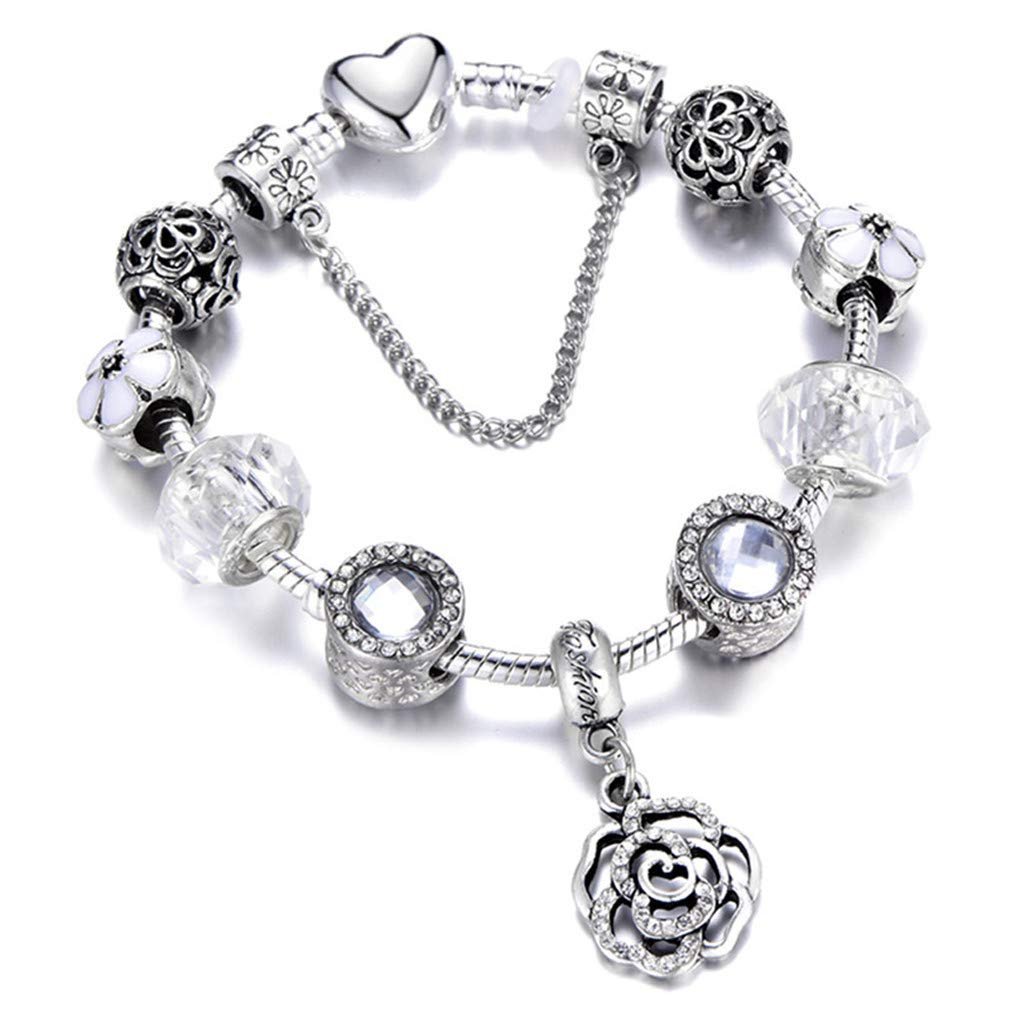 FHLJguil Fashion Silver Charms Bracelet Bangle for Women Crystal Flower Beads Fit Bracelets Jewelry AE0284 18cm