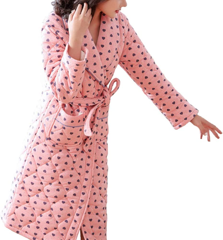 Albornoz De Algodón Cálido De Invierno Mujer hasta La Rodilla Bata De Baño Bata Ropa De Dormir, Pink-M: Amazon.es: Ropa y accesorios