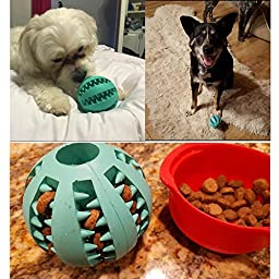 Pelay Toy Ball for Dogs Tooth Cleaning Dog Toy Balls for Pet Pack of 2 Non-Toxic Soft Rubber Silicone
