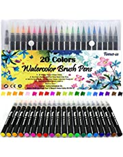 Pinselstift-Set Pinselstiften Aquarellpinsel Brush Pen Set Wassеrtankpinsеl Stifte mit variabler Spitze für Malen Zeichnen Fasermaler Handlettering, Zendoodle, Kalligrafie Mangas 20er Pinselset.