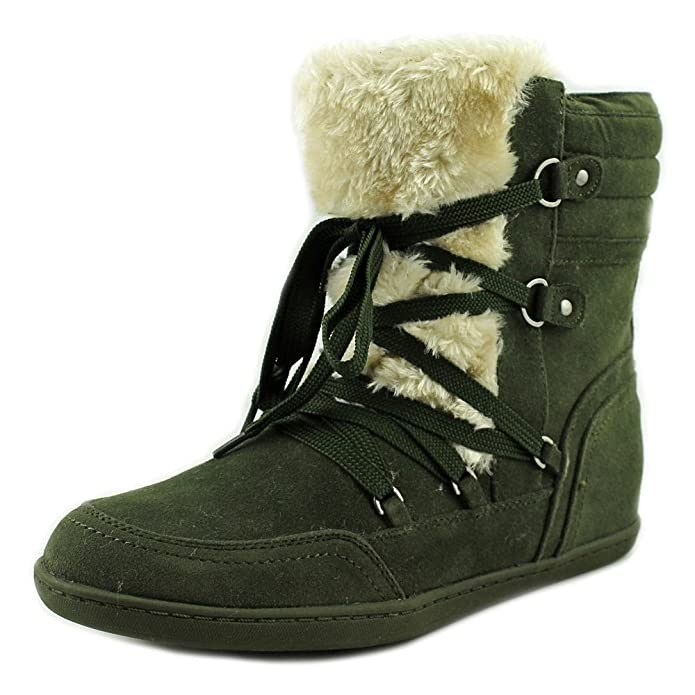 G By Guess Ryla Round Toe Canvas Winter Boot Dark Green Size 6.0