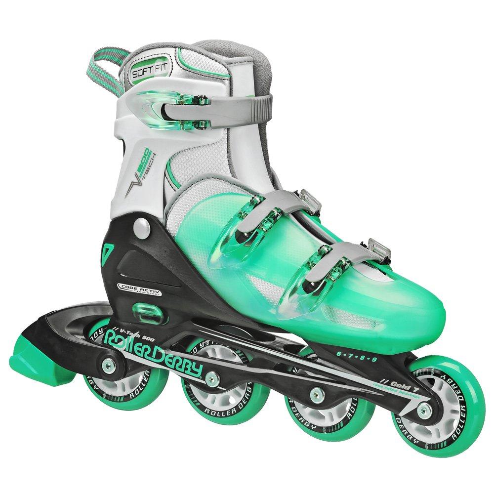 Roller Derby I350 Women's V-Tech 500 Button Adjustable Inline Skate, Mint, Size 6-9