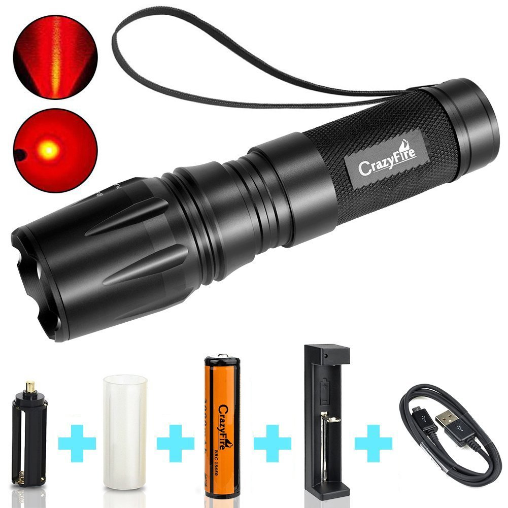 CrazyFire Red Beam LED Flashlight,Zoomable 5 Modes LED Torch,1000 Lumen Waterproof Torch Lantern by 1x 18650/3X AAA /1x 26650 Battery for Hiking Camping Hunting (18650 Battery and Charger included)