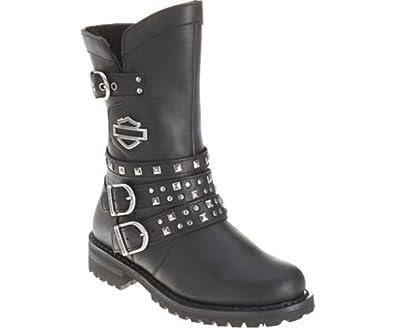 Harley Davidson Adrian Ladies Biker Boots Black Leather