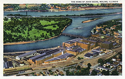 Moline, Illinois - Aerial View of the John Deere Plant - Vintage Halftone (12x18 SIGNED Print Master Art Print w/Certificate of Authenticity - Wall Decor Travel Poster)