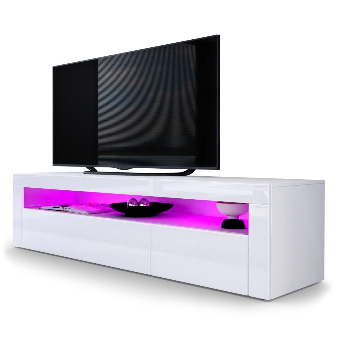 Tv Stand Unit Valencia Carcass In White Matt Front In White  # Meuble Tv Simple