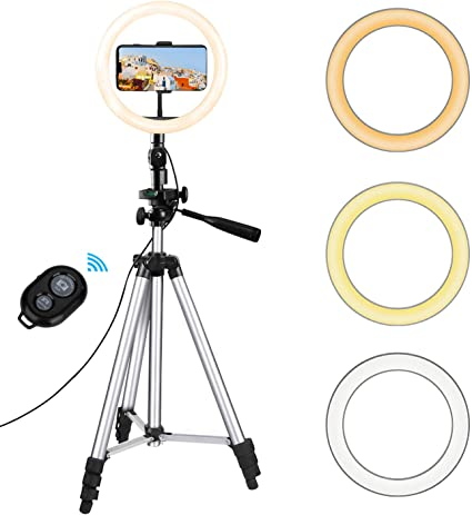 B, Large Desktop Selfie Ring Light with Tripod Stand /& Remote Light Modes for Video//Live Stream//Makeup//Photography for iPhone Android