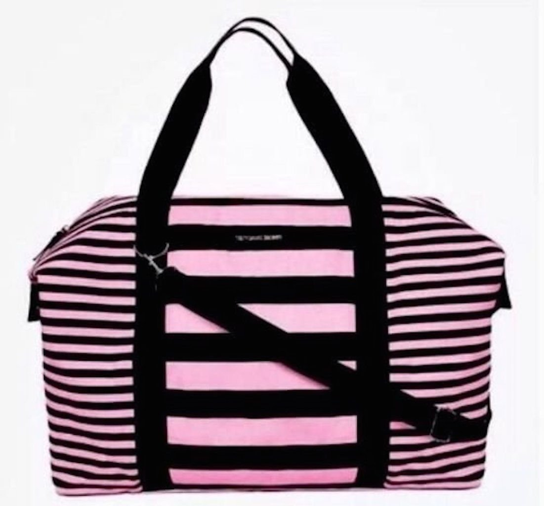 Victoria's Secret Weekender Duffle Travel Bag (Pink Black Stripes)