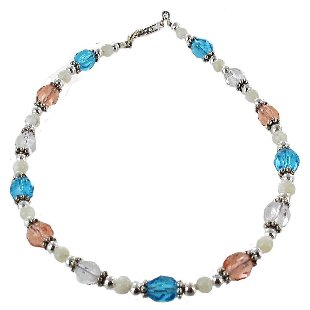 Timeless-Treasures Womens Czech Fire Polished Glass, Mother of Pearl & Sterling Silver Beaded Anklet with Daisies - 12''