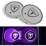 Farmogo Tesla Model Y X S 3 Accessories Water Cup Mats, LED Car Cup Holder Lights for Tesla,7 Colors Changing USB Charging Ma