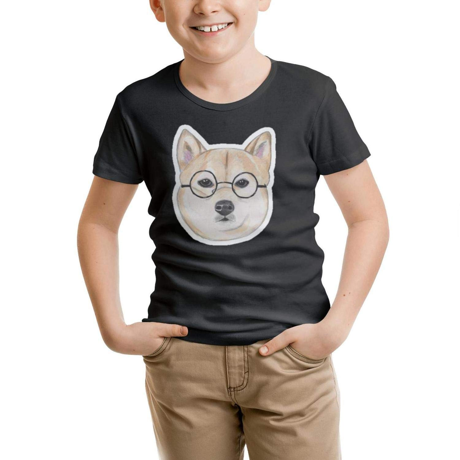 GGTHT Kid's Black Tshirts Doge Face Glasses O-Neck Short Sleeve Cotton