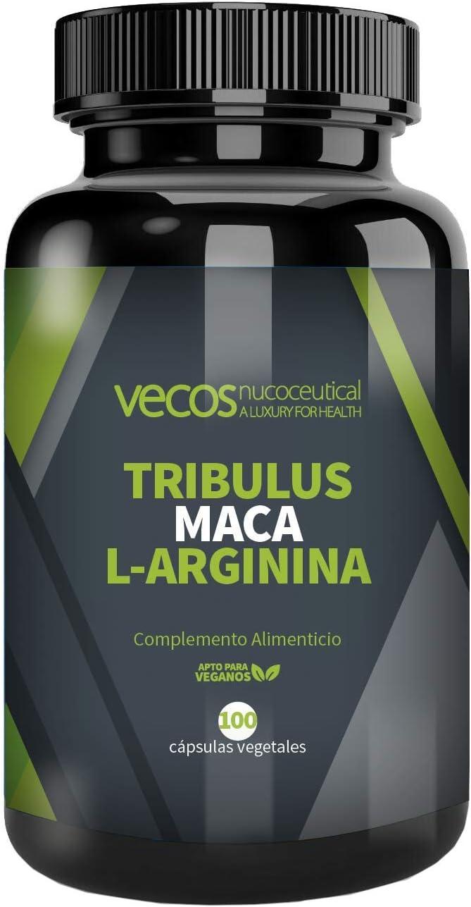 Tribulus Terrestris Vecos con Maca y L-Arginina – Aumento de masa muscular y testosterona - 100 cápsulas vegetales – 100% Apto Veganos