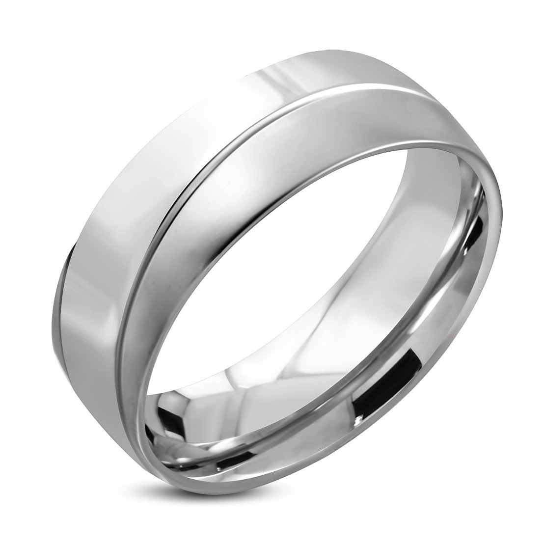 Stainless Steel Diagonal Striped Comfort Fit Half-Round Wedding Band Ring