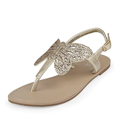 703d058dedc The Children's Place Girls' BG Butterfly Can Flat Sandal, Gold, Youth 11  Medium US Big Kid: Buy Online at Low Prices in India - Amazon.in
