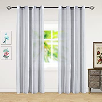Amazoncom Hontod Grey Stripe Sheer Grommet Window Curtain Panels