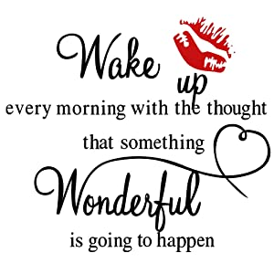 Wake Up Every Morning Wall Decal with Red Lip Sticker, Inspirational Quote Saying Wall Sticker, Vinyl Motivational Art Lettering Motto Decor, for Home Office Classroom Bedroom