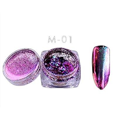 Mchoice 6 Colors Powder Flakes Nail Bling Mirror Shimmer Powder Nail Art Glitter Decora