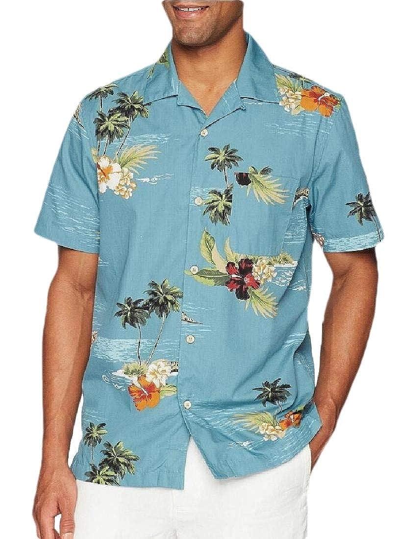Mens Tropical Hawaiian Shirt Button Down Short Sleeve Shirt Tops