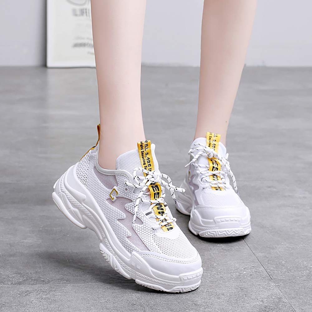 KUIBU Women Lightweight Breathable Slip-On Toning PU Retro Daddy Shoes Clunky Sneaker Sports Athletic