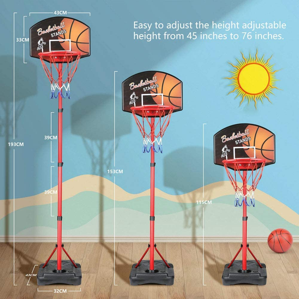 KAMDHENU Basketball Hoop Portable Basketball Hoop Indoor and Outdoor Activities for Kids Age 3-8 Kids Toy Basketball Hoop with Darts Target 2 in 1 with Height-Adjustable 3.2ft-6.2ft