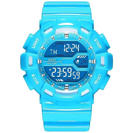 Candy color impermeable deporte luminoso reloj digital/Escuela primaria niños y niñas lindo reloj de niños niñas-B: Amazon.es: Relojes