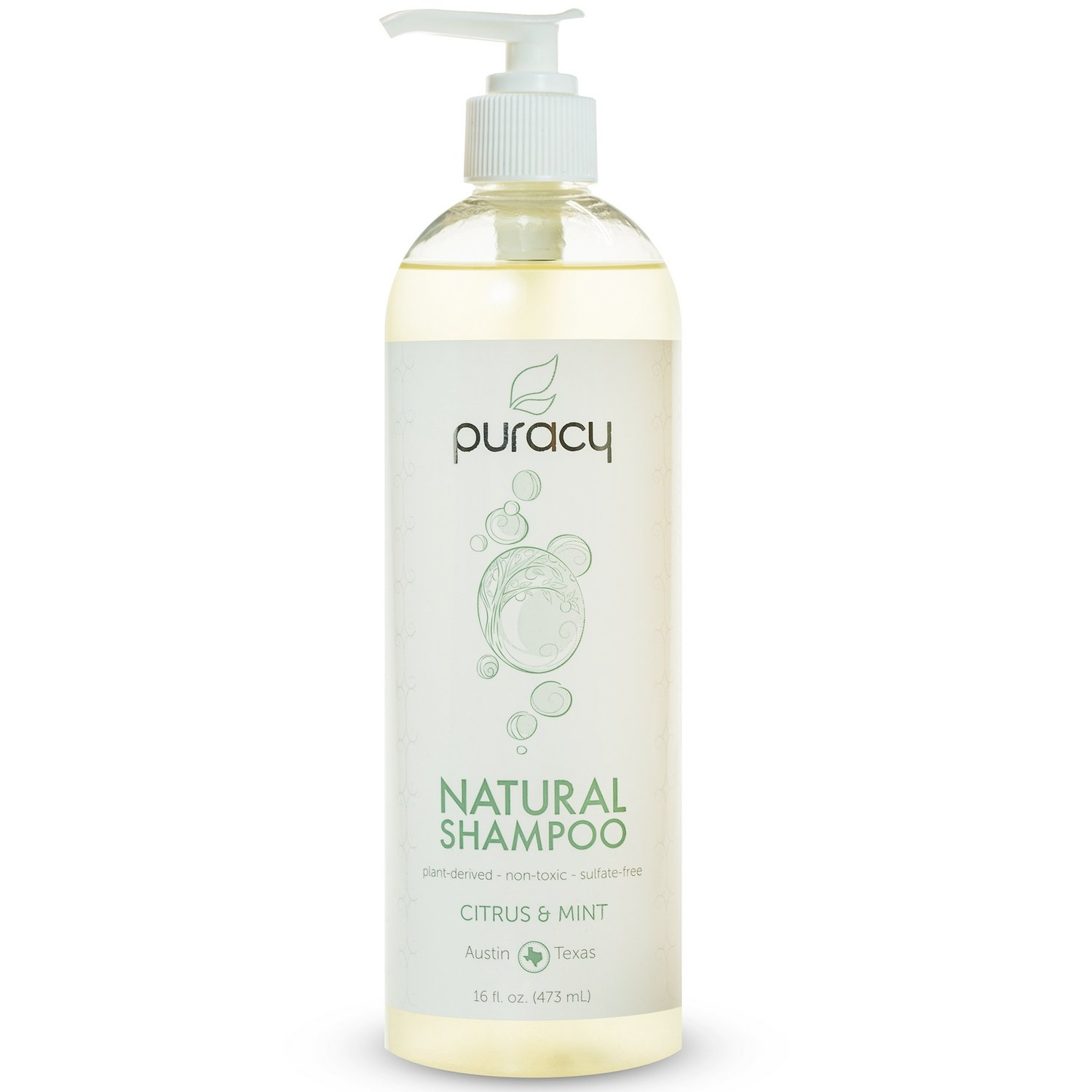 Puracy Natural Daily Hair Shampoo, Sulfate-Free, Citrus and Mint, 473 mL Pump Bottle PNS16-1