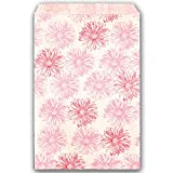 Health & Personal Care : 100 Pink Flower Print on White Flat Merchandise or Favor Bags 6x9 Inches