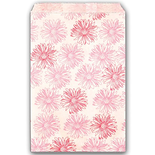 100 Pink Flower Print on White Flat Merchandise or Favor Bags 4x6 Inches ()