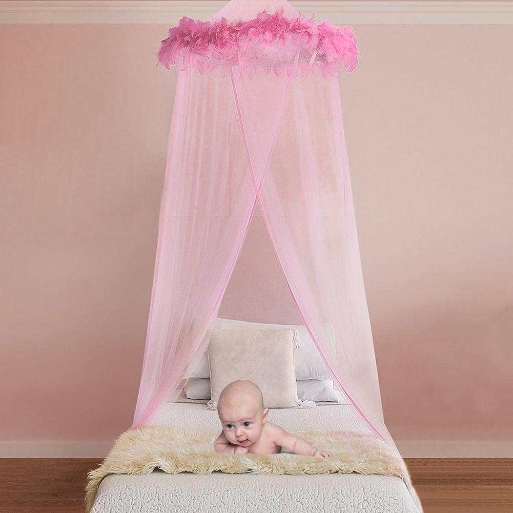 Big-time Princess Mosquito Net, Princess Bed Canopy Netting Dome Hanging Mosquito net with Elegant Lace and Pink feather for Girls and Baby