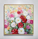 Handmade Abstract Style Colorful Flowers Oil Painting on-Canvas for Home Decor in Hotel LivingRoom Cafe Office