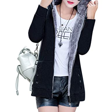 601d72135cc Leoie Hooded Thicken Long Jackets for Women Long Sleeve Solid Cotton Hoodies  Coats Women Western Outwear