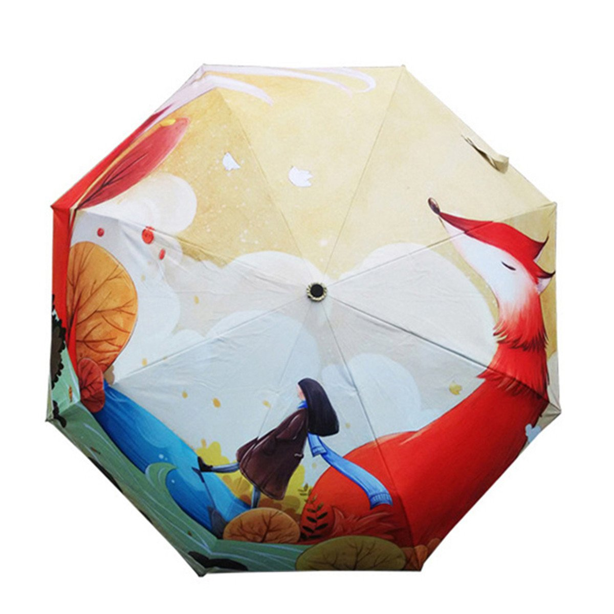 Ruick Artistic Umbrella Light-weighted Folding Umbrella with Anti-UV and Windproof Funtions Suitable for Both Sunny and Raining Days- Available In 5 Patterns (Fox)