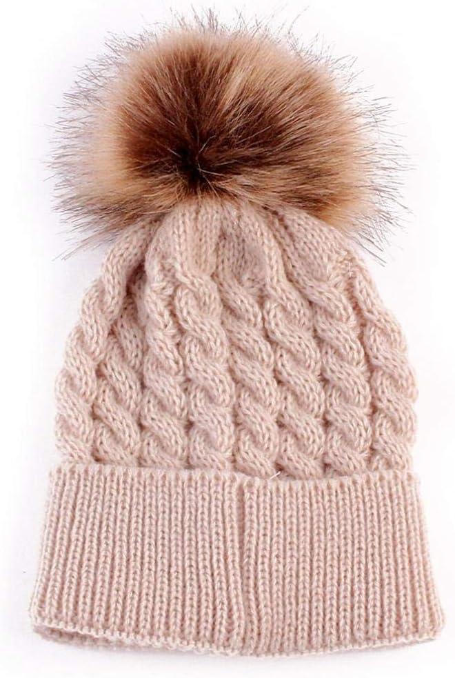 Goodtrade8 Cute Ball Cap Newborn Baby Girl Boy Children Warm Winter Knitted Wool Hemming