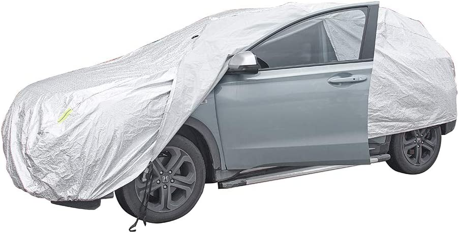 JSCARLIFE Multi Layers Car Cover Waterproof All Weather for Automobiles 3XXL- 530x200x150cm Outdoor Full Cover Rain Sun UV Protection with Zipper Cotton,Fit for More Than 28 Models of Car.