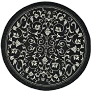"Safavieh Courtyard Collection CY2098-3908 Black and Sand Indoor/ Outdoor Round Area Rug (710"" Diameter)"