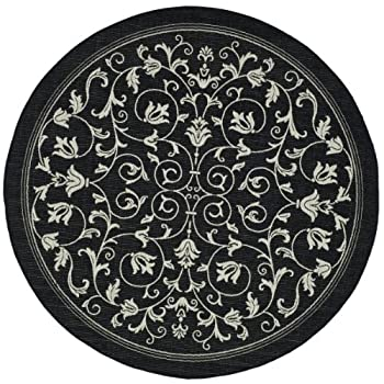 """Safavieh Courtyard Collection CY2098-3908 Black and Sand Indoor/ Outdoor Round Area Rug (710"""" Diameter)"""