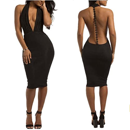 Gotd Women Sexy Deep V-Neck Backless Bandage Bodycon Cocktail Evening Party Dress