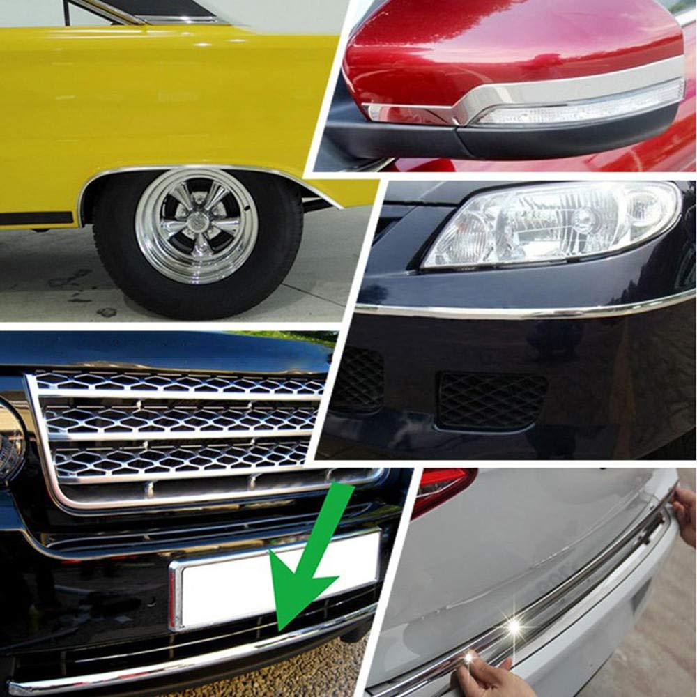 Lecimo 15mm Chrome Moulding Trim Strip 15M Adhesive Car Truck Door Edge Moulding Trim Guard Strip Protector