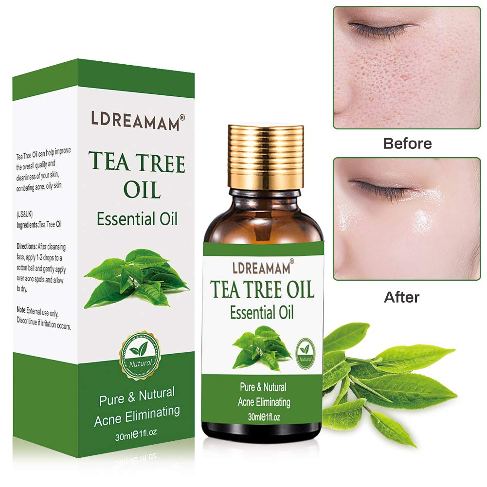 Tea Tree Essential Oil for Face Hair Nail Acne Lice,100% Natural Premium Melaleuca Therapeutic Grade - Great with Soap and Shampoo, Face and Body Wash by LDREAMAM