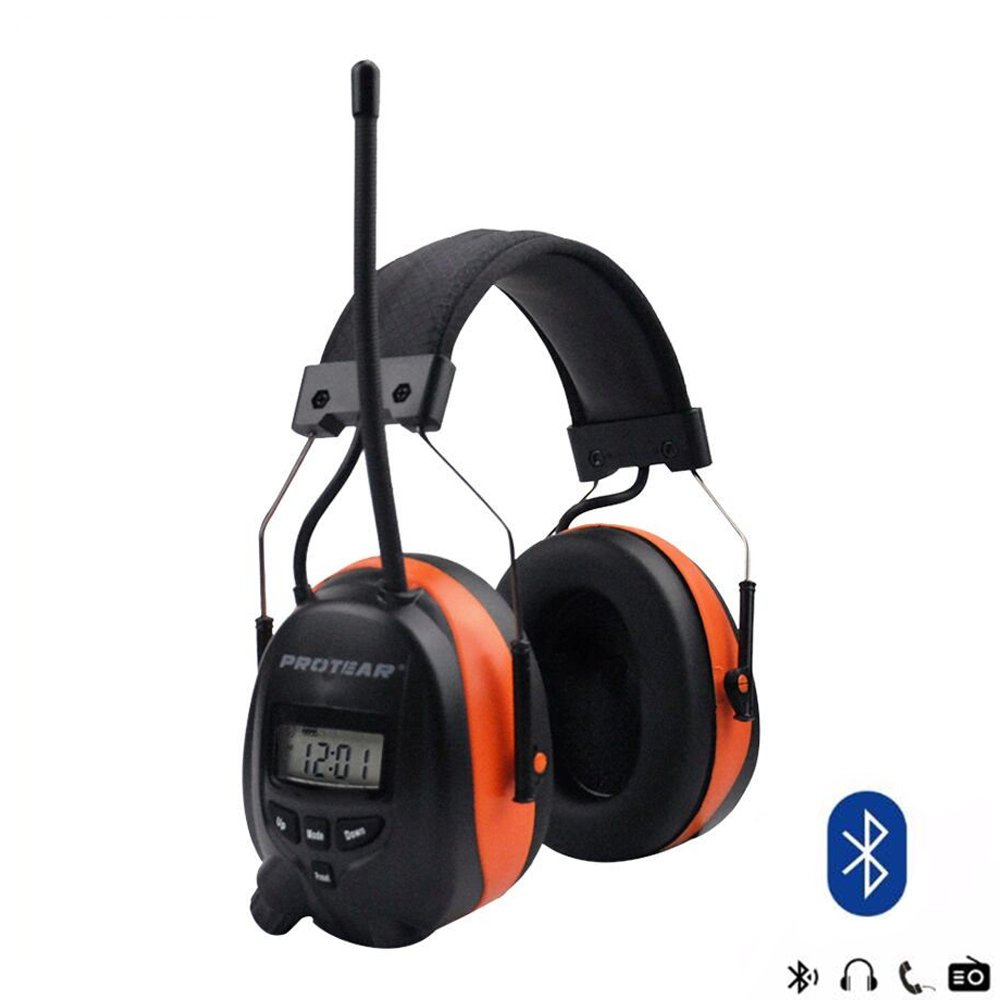 PROTEAR Bluetooth Wireless Noise Cancelling Headphones, AM/FM Radio Safety Earmuffs for Working/Mowing, NRR 25dB Ear Protector, with Built-in Mic, Orange