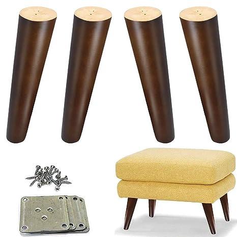 Amazon.com: Madera de 8 inch sofá patas nogal muebles pies ...