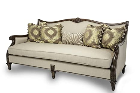 amazon com michael amini villagio wood trim sofa hazelnut kitchen rh amazon com wood trim sofa and loveseat ashley wood trim sofa