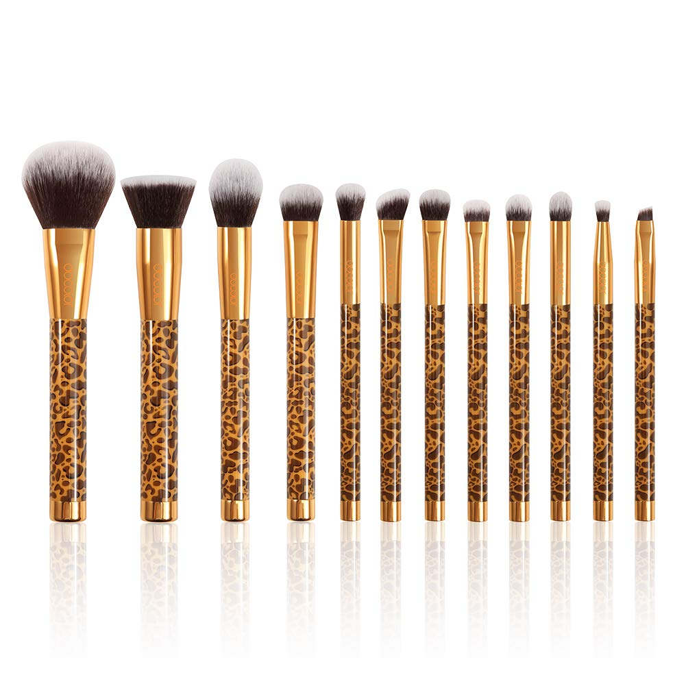 Docolor Makeup Brushes Leopard 12 Pieces Professional Makeup Brush Set Premium Synthetic Brushes Set Kabuki Foundation Blending Brush Face Powder Blush Concealers Eye Shadows Make Up Brushes Kit
